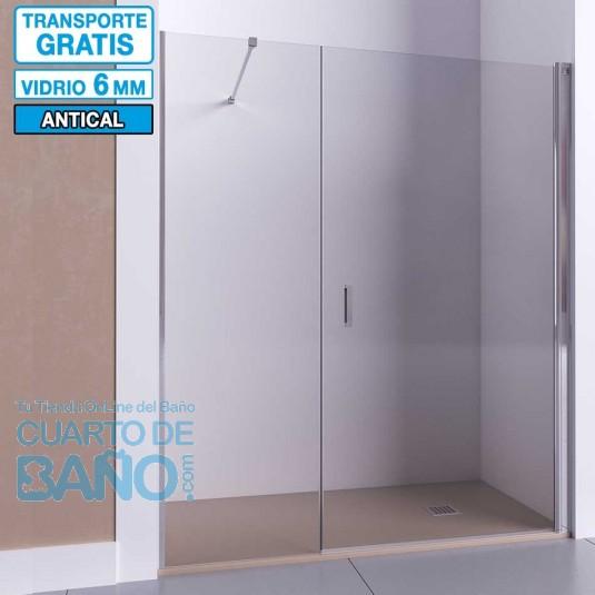 Mampara de ducha frontal con puerta abatible y fijo HADES de Seviban.