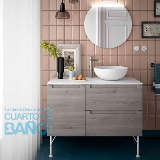 Mueble de baño MODULAR MONTERREY Salgar de 100 cm (60+40) con LAVABO desplazado