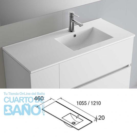Lavabo porcelana IBERIA 1055 Derecha Salgar 1055x20x460 mm blanco 21093