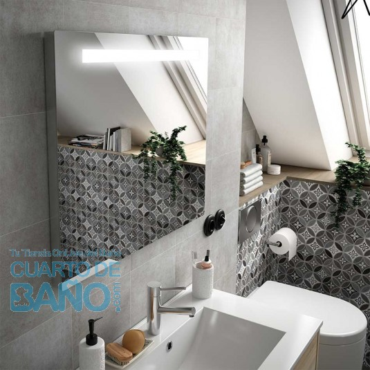 Espejo baño SUNSET Salgar 600x600 mm  luz led (6W) y antivaho (21W)  25029