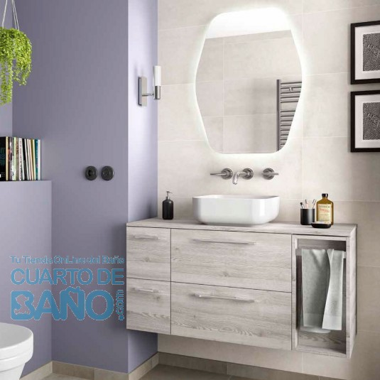 Mueble de baño MODULAR FUSSION CHROME Salgar 100 cm (25+60+25) lavabo desplazado