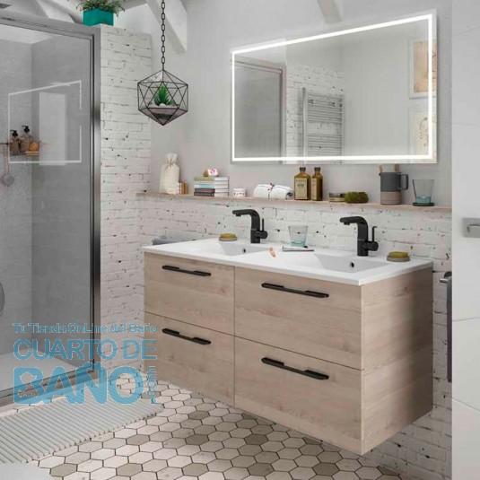 Mueble de baño MODULAR FUSSION CHROME Salgar 120 cm (60+60) lavabo doble