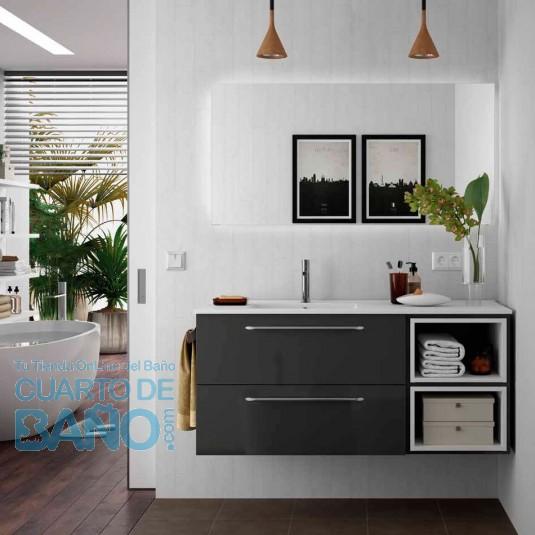 Mueble de baño MODULAR FUSSION CHROME Salgar 120 cm (80+40) lavabo desplazado