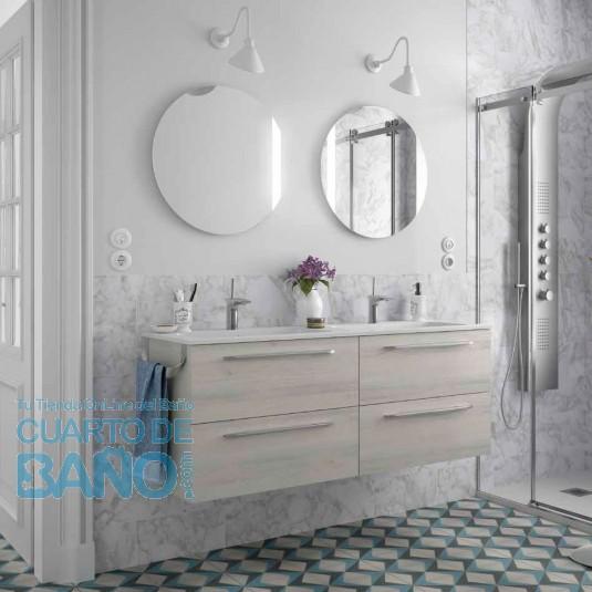 Mueble de baño MODULAR FUSSION CHROME Salgar 140 cm (70+70) lavabo doble