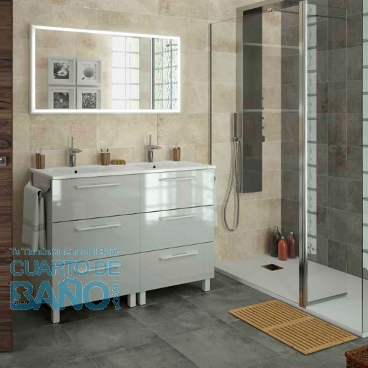 Mueble de baño MODULAR FUSSION CHROME Salgar 120 cm (60+60) 3 cajones lavabo doble