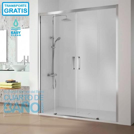 Mampara de ducha frontal 400 CU100 de Kassandra. Frente 2 fijos más 2 puertas correderas