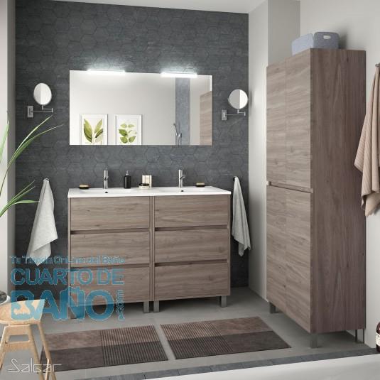 Mueble de baño ARENYS Salgar 120 cm con LAVABO Roble Eternity