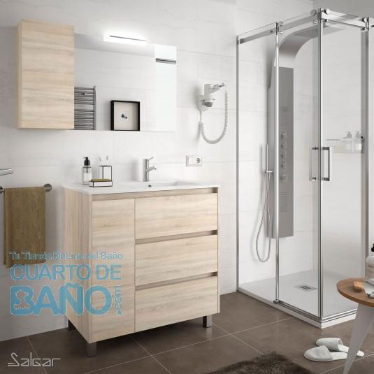 Mueble de baño ARENYS Salgar 85 cm con LAVABO a la DERECHA Roble Caledonia
