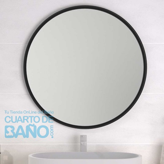 Espejo de baño ARUBA con marco metálico negro