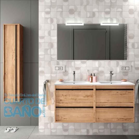 Mueble de baño ATTILA 1200 de Salgar con lavabo cerámico Roble Ostippo