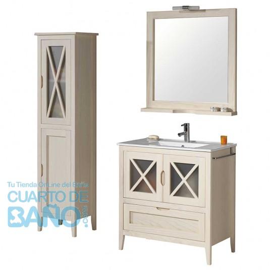 Mueble de baño rústico ÁVILA 80 cm con lavabo
