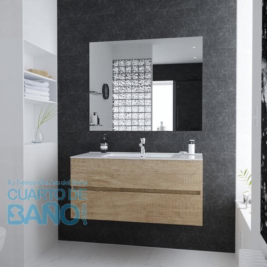 Conjunto Mueble de Baño BERK 100 cm con lavabo cerámico y espejo Luna