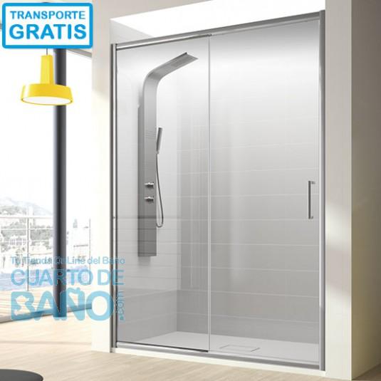 Mampara de ducha frontal BELLA. Frente fijo mas puerta corredera