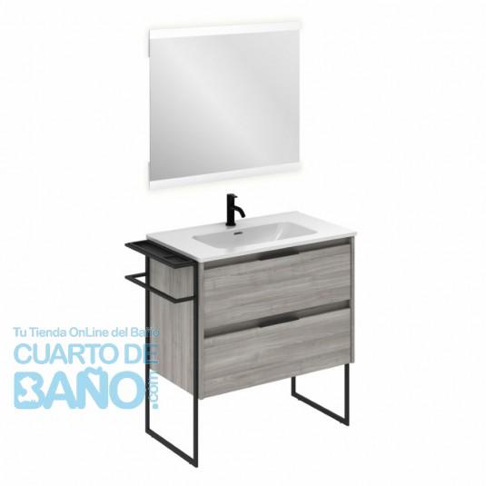 Mueble de baño KEIKO de 80 cm con 2 cajones GRIS ARENADO con espejo Hikari y lavabo