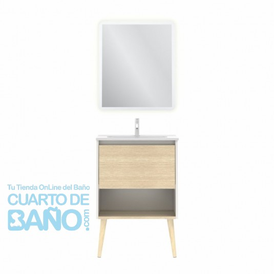 Mueble de baño NARA de 60 cm con 1 cajón y 1 hueco BLANCO MATE Y ROBLE ARENADO con lavabo