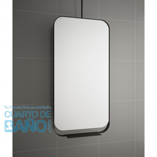 Espejo BLACK STREAM 500 vertical con marco metálico, giratorio 500 x 1000 mm