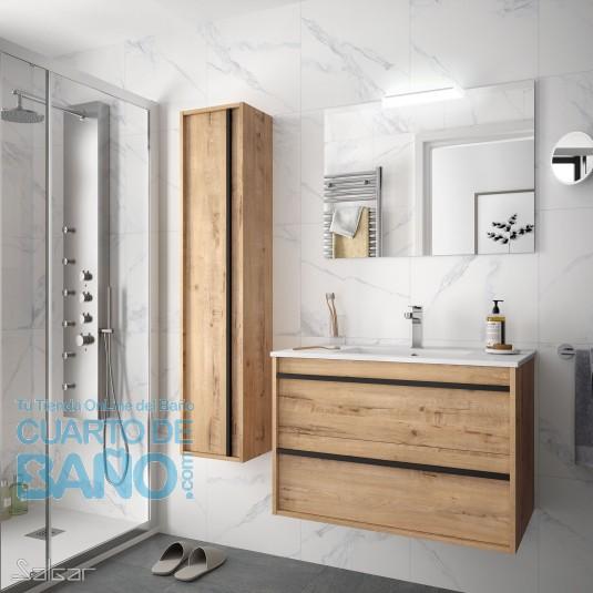 Mueble de baño ATTILA 800 de Salgar con lavabo cerámico Ostippo