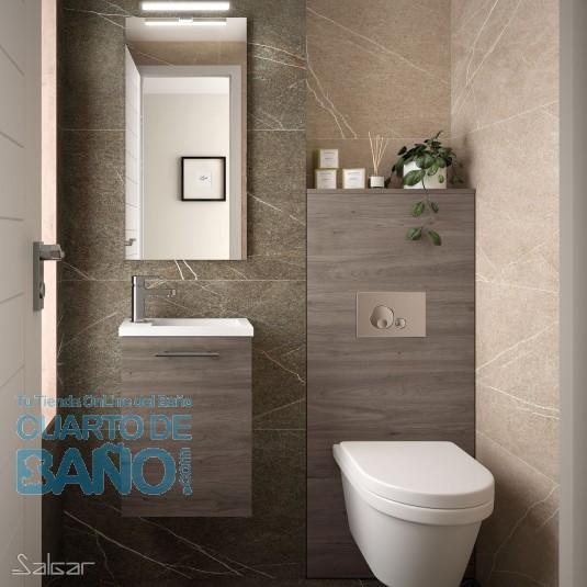 Mueble de baño MICRO Salgar 40 cm con LAVABO Roble Eternity