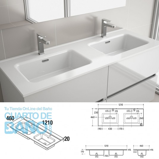 Lavabo CONSTANZA 1210 doble PORCELANA BLANCA 1210 x 16 x 460 mm