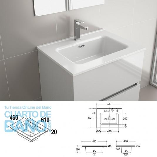 Lavabo CONSTANZA 610 PORCELANA BLANCA 610 x 16 x 460 mm
