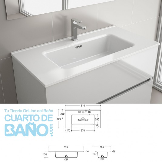 Lavabo CONSTANZA 910 PORCELANA BLANCA 910 x 16 x 460 mm
