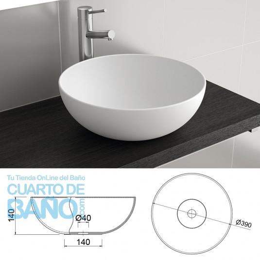 Lavabo porcelana ALTIRO Salgar 390x140 sobre encimera blanco 24555