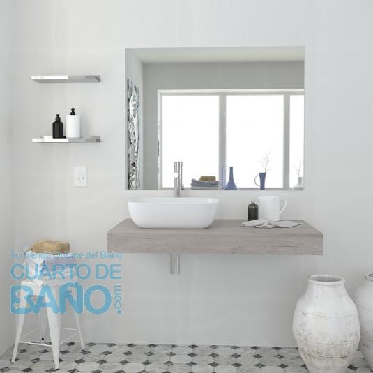 Conjunto encimera F10 con lavabo cerámico, espejo y sifón