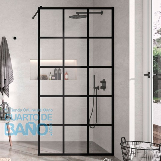 Mampara de ducha hoja fija FRESH NEGRO decorado industrial cuadros FR103 de Kassandra