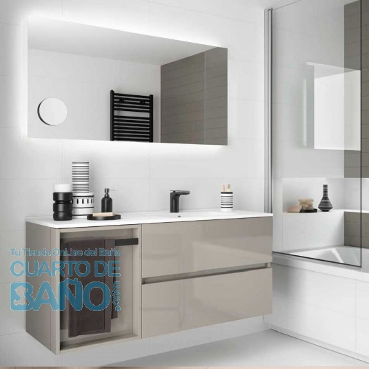 Mueble de baño MODULAR FUSSION LINE Salgar 2 cajones de 120 cm (80+40) con LAVABO desplazado