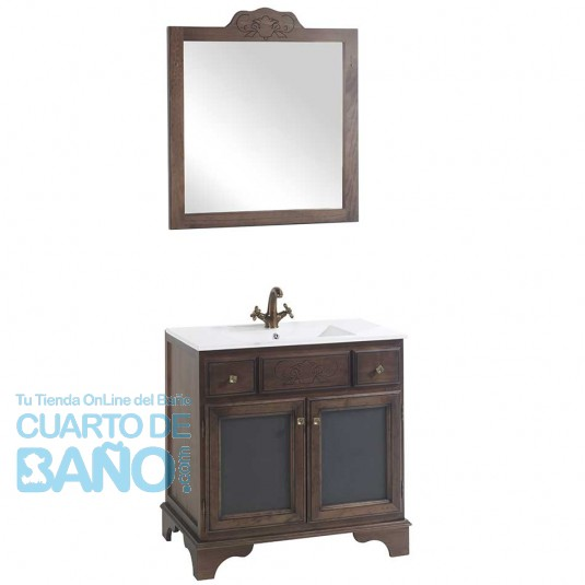 Mueble de baño rústico GRANADA con patas 80 cm con LAVABO