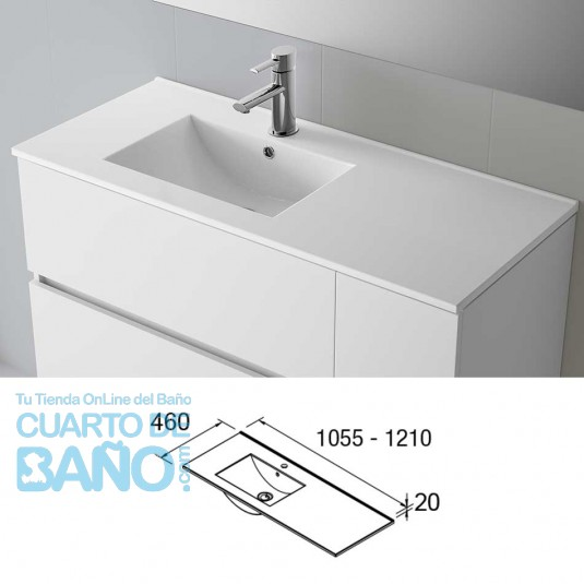Lavabo porcelana IBERIA 1055 Derecha Salgar 1055x20x460 mm blanco 21092