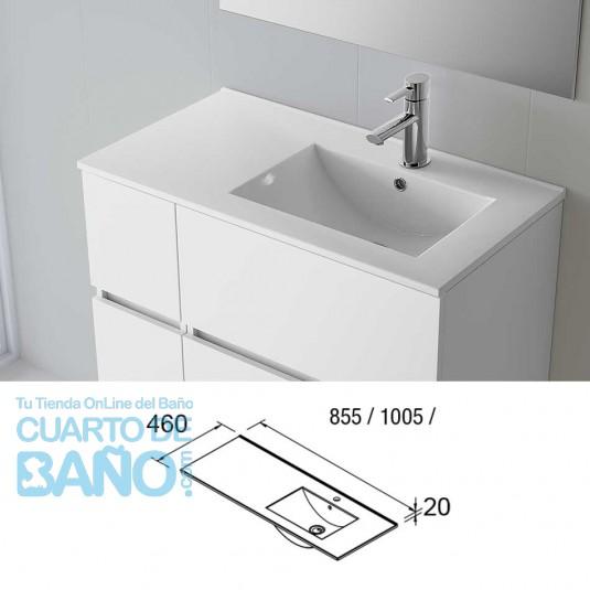 Lavabo porcelana IBERIA 855 Izquierda Salgar 855x20x460 mm blanco 21091