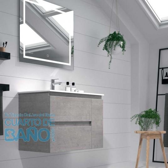 Mueble de baño KULA Duplach 2 cajones y puerta con LAVABO cemento