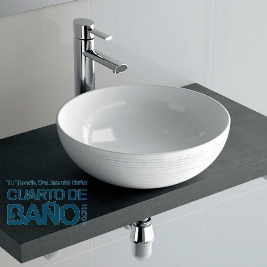 Lavabo porcelana SEDUCTION Salgar 390x150 sobre encimera blanco 21854