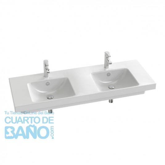 Lavabo plano doble 140 x 50 cm ODEON UP blanco JCD-E4779