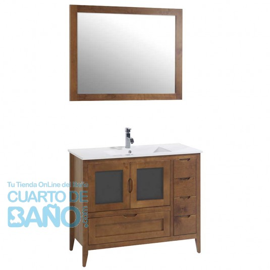 Mueble de baño rústico LEON 100 cm con lavabo