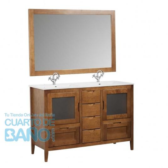 Mueble de baño rústico Leon 120 cm con cajones y lavabo