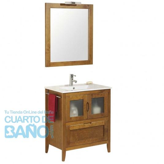 Mueble de baño rústico Leon 70 cm con lavabo
