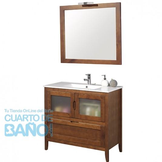 Mueble de baño rústico Leon 80 cm con lavabo