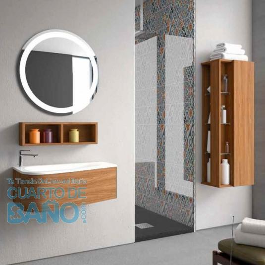 Mueble de baño LOOP Inve 90 cm nogal lacado 1 cajón con LAVABO