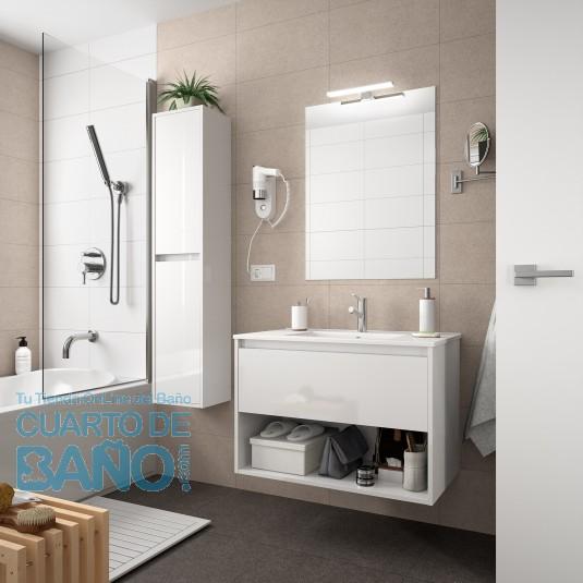 Mueble de baño NOJA Salgar 60 cm 1 cajón con LAVABO Blanco Brillo