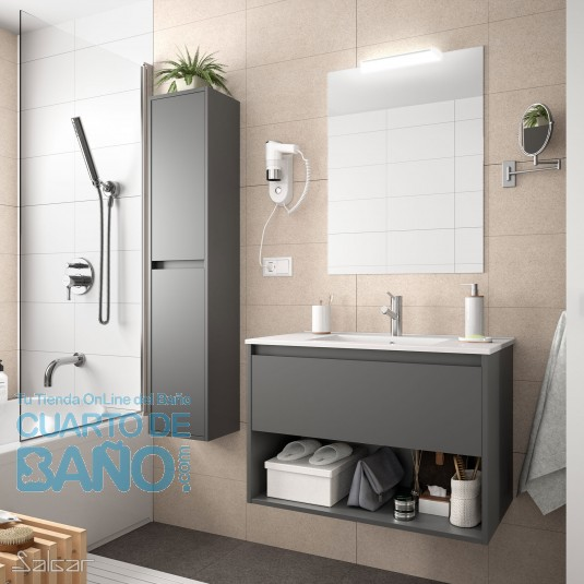 Mueble de baño NOJA Salgar 80 cm con LAVABO Gris Mate