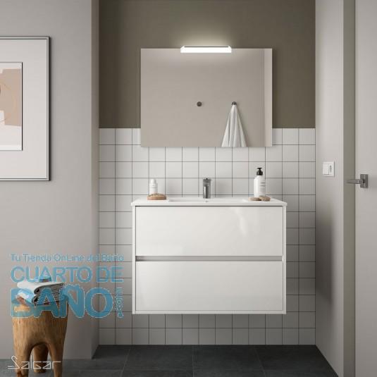 Mueble de baño NOJA Salgar 90 cm con LAVABO Blanco Brillo