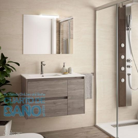 Mueble de baño NOJA Salgar 85 cm con LAVABO a la IZQUIERDA Roble Eternity