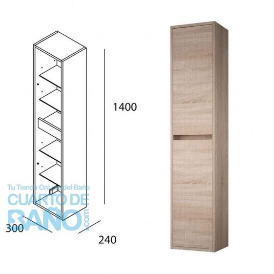 Mueble auxiliar baño NOJA/ARENYS  Salgar pared 140 cm roble caledonia 85174