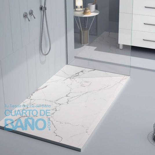 Plato de ducha resina MÁRMOL BLANCO de DUPLACH de carga mineral y gel coat