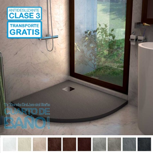 Ambiente plato de ducha ANGULAR GRANITO extraplano gris cemento de Nudespol