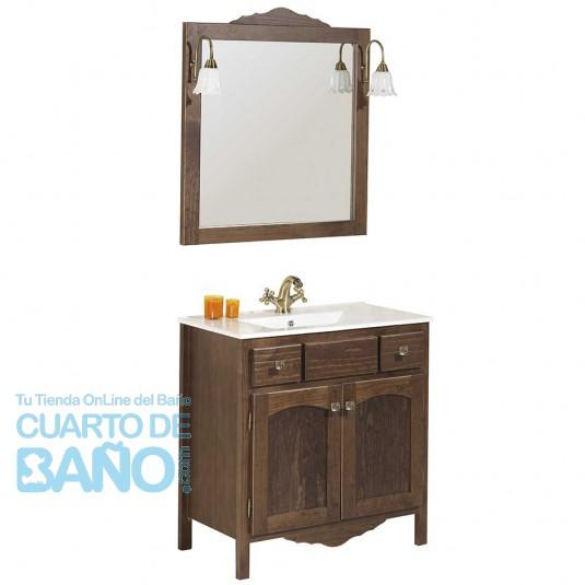 Mueble de baño rústico RONDA de 80 cm con LAVABO