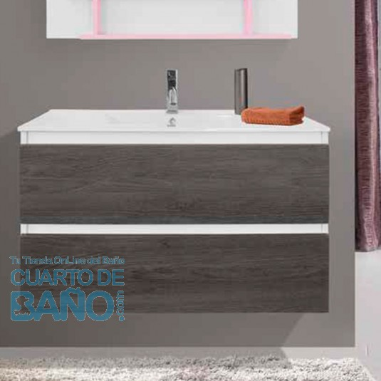 Mueble de baño SEDA 21 suspendido dos cajones color roble gris/blanco de VERROCHIO