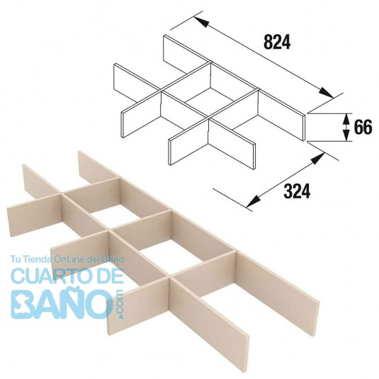 Separadores de cajón muebles ancho 80 cm fondo 45 Salgar 85229